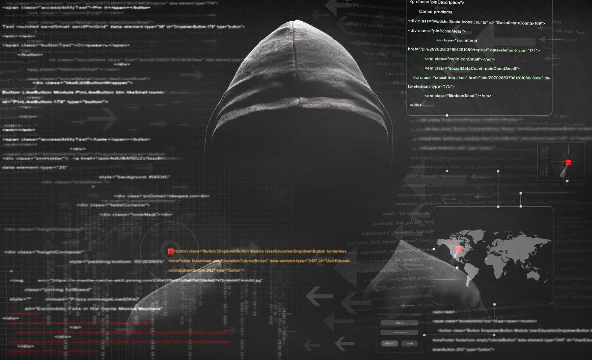 A hooded figure set on a dark background with computer code